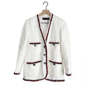 NWOT Zara Tweed Frayed Jacket Blazer